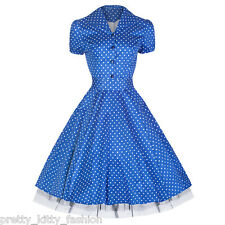 PRETTY KITTY 50s BLUE POLKA DOTS VINTAGE RETRO TEA SWING PROM PARTY DRESS 8-24