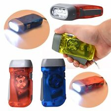 New 3 LED Dynamo Wind Up Flashlight Torch Light Hand Press Crank NR Camping AB