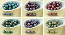 40pcs NEW FINISH Nebula Opaque Christmas Style Round Druk Pressed Czech Glass Be