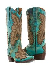 Womens Turquoise Brown Overlay Leather Western Cowgirl Cowboy Rodeo Riding Boots