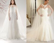 White Lace Appliques Long Cloaks Mantle Wedding Cape Overlay Bridal Gown Shawl