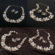 Pearl Gold Plated Simple Elegant Bridal Necklace Earring Jewelry Sets Kit EP
