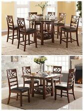 5Pcs Counter Height/Dining Table with Extension Leaf and Faux Leather Seat Chair