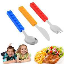 Hot Bricks Silicon Steel Portable Adult Kids Cutlery Knife Fork Spoon lot DP
