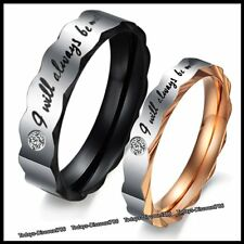 Silver Crystal Love Rings Promise - Xmas Gifts For Her Him Wife Couple Men Women