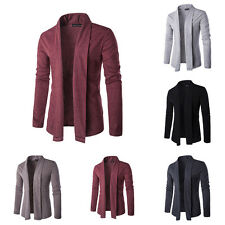 Mens Casual Long Sleeve Autumn Knitted Sweater Cardigan Coat Blazer Jacket NEW