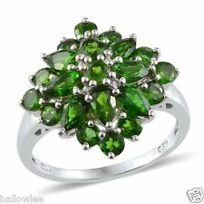 Russian CHROME DIOPSIDE Cluster Style RING Platinum / Sterling Silver 3.60 cts.