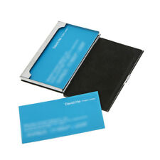 Stainless Steel Business Name Credit ID Card Case Holder PU Leather Box DP