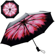 Auto Open&Close Folding Travel Compact Umbrella Waterproof Windproof Flower Prin