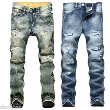 Hot Men's Washed Jeans Stylish Designed Straight Slim Fit Trousers Casual Jeans