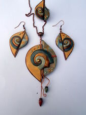 Handmade Stylish Abstract Polymer Clay Charm Necklace Earrings Ring Set OOAK