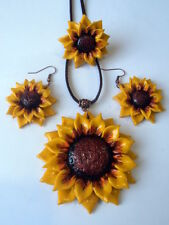 Handmade Floral Sunflower Polymer Clay Charm Necklace Earrings Ring Set OOAK