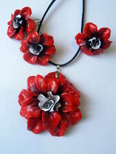 Handmade Polymer Clay Charm Necklace Earrings Ring Set Flower Floral Fimo OOAK