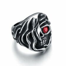 Men's Stainless Steel Silvery Skull Biker Jewelry Ring With Red CZ Size 8-13