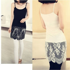 Women Lace Extender Tank Slip Top Spaghetti Strap Camisole Dress Lace Trim Layer