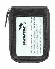 WalletBe Men's Leather Zipper Front Pocket RFID Thin Wallet (Outer ID)