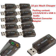 New Lot USB 2.0 Audio Headset Microphone Jack Converter Sound Card Adapter KL
