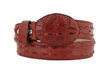 red western cowboy leather crocodile alligator tail design belt rodeo buckle