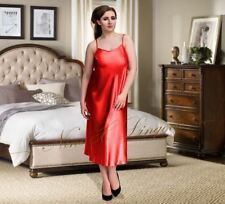 Nine X Ladies Sexy Long Satin Chemise Plus Size 8-24 S-6XL Lingerie Babydoll Red