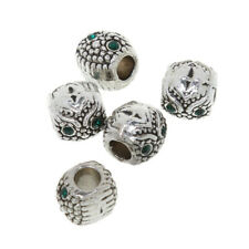 5Pcs European Silver Crystal Charms Pendant Spacer Beads Craft Findings Bracelet