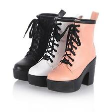 School girls Womens Platform chunky Block Heels Ankle Boots Lace Up shoes