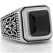 Men Women Signet Ring Solid 925 Sterling Silver Black Onyx Stone Size 8 10 12 13