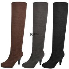 Women Over Knee Thigh High Stiletto Heel Platform Stretch Boot US NEW