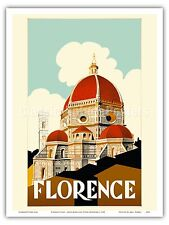 Florence Italy Santa Maria Fiore Cathedral Vintage World Travel Art Poster Print