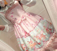 Sweet Lolita Small Fresh Gothic Deer Printing Suspender Dress Bow Cute#1-R-26