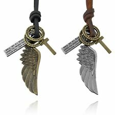 Mens Womens Vintage Angel Wing Cross Pendant Rro Leather Necklace Charms Jewelry