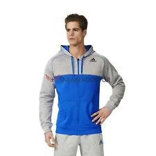 adidas Mens Full Zip Fleece Block Hoodie Sweatshirt Grey/Royal Blue All Sizes