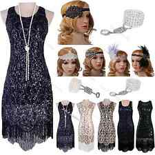 Vintage 1930s 1920s Dress Flapper Great Gatsby Charleston Sequin Black Costume