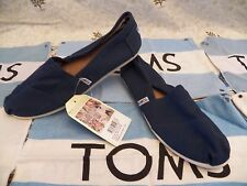 New Womens TOMS Classic Canvas Slip On Navy Blue Casual Shoes
