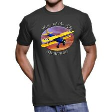 Stearman Biplane King Of The Sky Men`s Dark T-Shirt