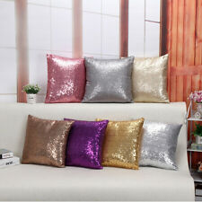 Solid Color Glitter Sequins Throw Pillow Case Cafe Sofa Decor Cushion Covers