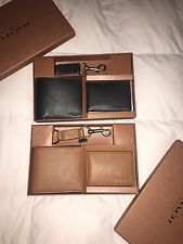 Coach Mens Brown Black Leather Compact ID Key Saddle Wallet Set Gift Box F64118