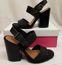 "Women Ladies JustFab 4.5"" High Heel Heeled Black Strapped Shoes Buckle Size 6 7"