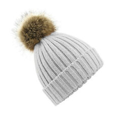 WOMEN'S FAUX FUR POM POM BOBBLE HAT - Chunky Knit / Gift Idea / Beanie Hat