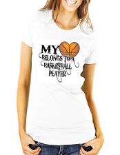 My Heart Belongs To A Basketball Player Ladies Fitted T-Shirt White S-XL NEW
