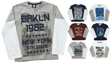 Boys 100% Cotton Long Sleeve Mock Layer Tops USA City Vintage Prints 2-13 Years