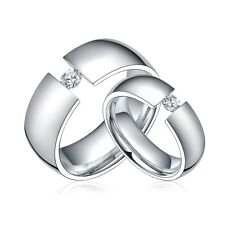 Titanium Steel Ring Cubic Zirconia Couple Wedding Bands Jewelry lovers Gift
