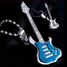 New Fashion Unisex's Stainless Steel Music Guitar Pendant Necklace Leather Chain