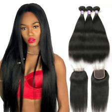 Brazilian Straight Hair 3 Bundles with Lace Closure Human Hair Extensions Weave