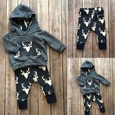 2 Pcs Autumn Kids Long Sleeve Sets Baby Deer T-shirt Hoodie Top+Pant Outfits F5