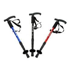 Adjustable Anti-Shock Hiking Walking Stick Cane Pole Trekking Crutches + Compass