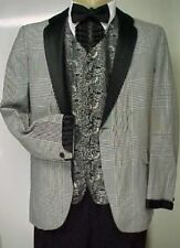VINTAGE AFTER SIX BLACK AND WHITE PLAID MENS TUXEDO JACKET or 4pc TUX RETRO