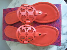 NIB Tory Burch Miller Leather Logo Thong Sandals Coral 9