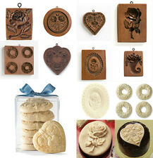 Replica Wooden Springerle Cookie Biscuit Marzipan Flower Heart Shape Baking Mold