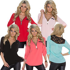 Long sleeve Chiffon Lace Blouse Sexy Ladies T-Shirt Tunic Tops Shirt Top NEW