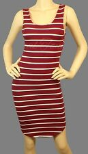 Sexy Burgundy white striped sleeveless tank dress curved hem line above knee